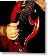 Red Gibson Guitar Metal Print