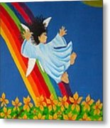 Sliding Down Rainbow Metal Print