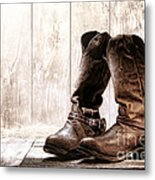 Slouch Cowboy Boots Metal Print