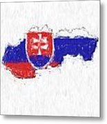 Slovakia Painted Flag Map Metal Print