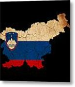 Slovenia Grunge Map Outline With Flag Metal Print