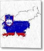 Slovenia Painted Flag Map Metal Print