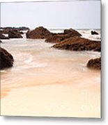 Slow Shutter Sea Around Rocks Metal Print