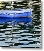 Small Blue Boat Metal Print