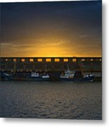 Small Boat Waiting In The Harbor Of Oostende Metal Print
