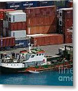 Small Boat With Cargo Containers Metal Print