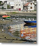 Small Boats And Seagulls In Galicia Metal Print