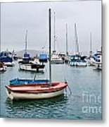 Small Boats At Lyme Regis Harbour Metal Print