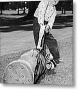 Small Boy Totes Heavy Golf Bag Metal Print