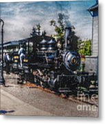 Small Boy Waiting For Steam Engine Metal Print