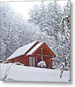 Small Cabin In The Snow Metal Print