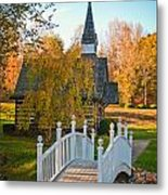Small Chapel Across The Bridge In Fall Metal Print