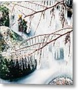 Small Creek Freezing Up Forming Icicles Metal Print