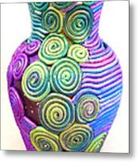 Small Filigree Vase Metal Print by Alene Sirott-Cope