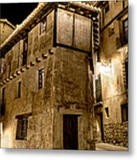 Small House In Albarracin At Night Metal Print