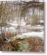 Small Lake In The Snow Metal Print