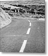 Small Narrow Country Road Leading To Dangerous Bend In County Antrim Northern Ireland Metal Print by Joe Fox
