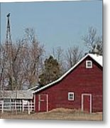 Small Red Barn With Windmill Metal Print