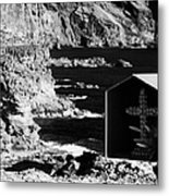 small shrine with cross made out of sea shells on rocky coastline at punta de teno Tenerife Canary Islands Spain Metal Print