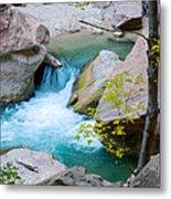Small Virgin River Waterfall In Zion Canyon Narrows In Zion Np-ut Metal Print