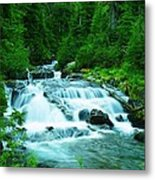 Small Waterfall On The Paradise River Metal Print