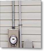 Smart Grid Power Supply Meter And Phone Line Drop Metal Print