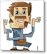 Smart Guy Doodle Character Metal Print by Frank Ramspott