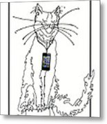 Smart Phone Cat Metal Print