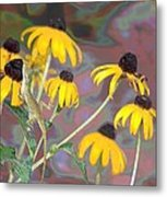Smell The Flowers Lizard Metal Print