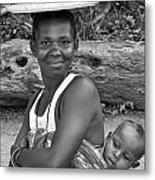 Smiling African Mum And Baby Metal Print