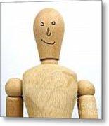 Smiling Wooden Figurine Metal Print