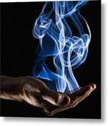 Smoke Wisps From A Hand Metal Print