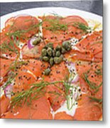 Smoked Salmon Pizza Closeup Metal Print