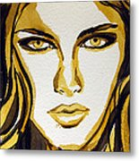Smokey Eyes Woman Portrait Metal Print by Patricia Awapara
