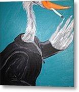 Smoking Egret In Leather Jacket Metal Print