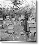 Smoking The Bees          Date 1889 Metal Print