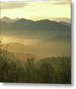 Smoky Mountain Foggy Sunrise Metal Print