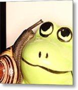 Snail Looking At Frog Metal Print