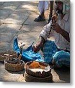 Snake Charmer Hampi Bazaar Metal Print