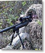 Sniper Dressed In A Ghillie Suit Metal Print