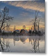 Dawn On The Snohomish Metal Print