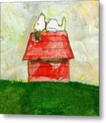 Snoopy Asleep On Red Doghouse Metal Print