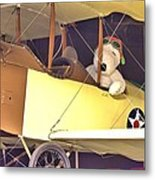 Snoopy In His Biplane Metal Print