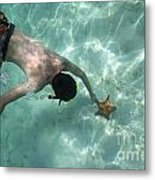 Snorkeller Touching Starfish On Seabed Metal Print