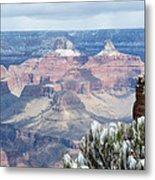 Snow At The Grand Canyon Metal Print