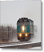 Passenger Train Blowing Snow On Curve Metal Print by Steve Boyko