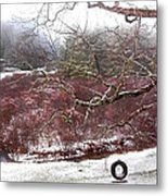 Snow Cabin And Tire Swing Metal Print