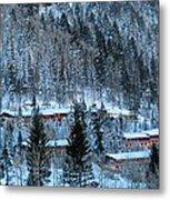 Snow Cabins Metal Print