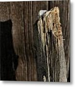 Snow Capped Fence Post Metal Print