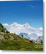 Snow-capped Mountain And Cloud Metal Print